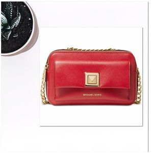 Red and gold cross body